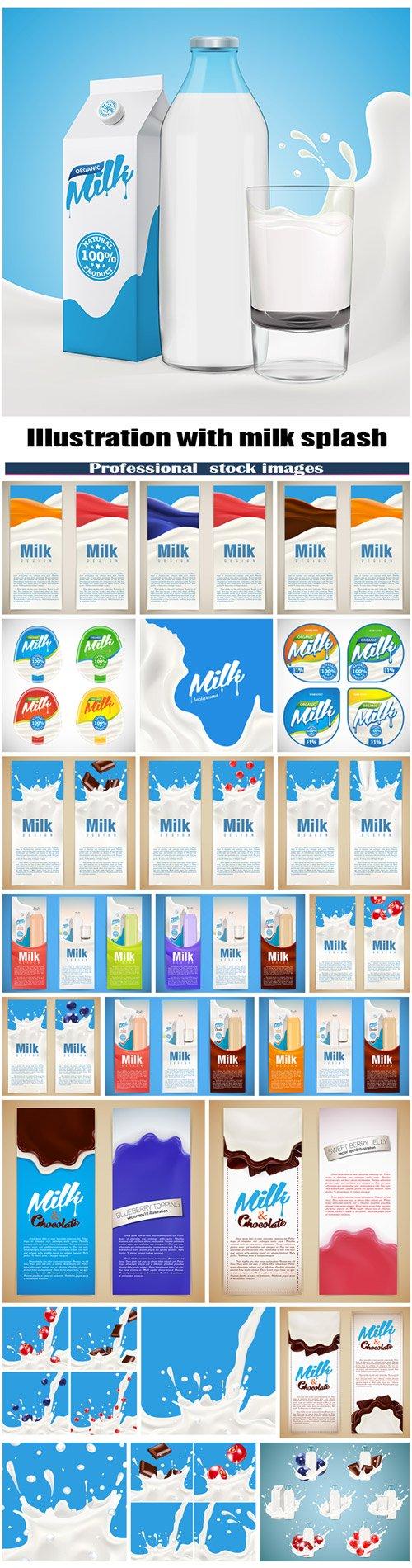 Milk design vector illustration with milk splash