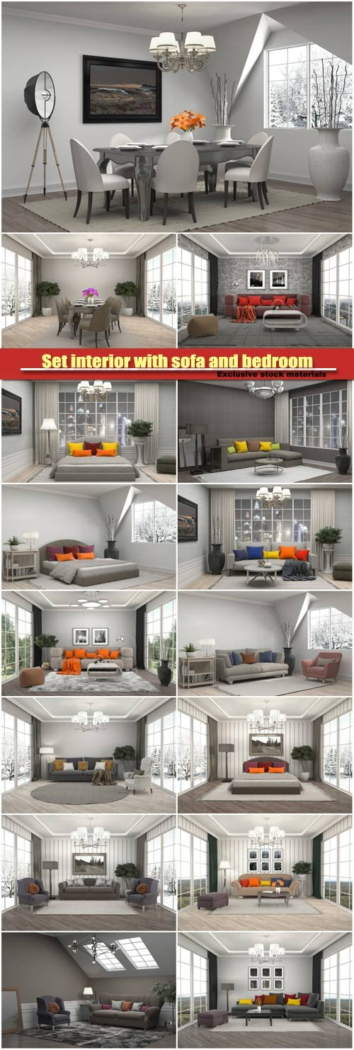 Set interior with sofa and bedroom, 3d illustration