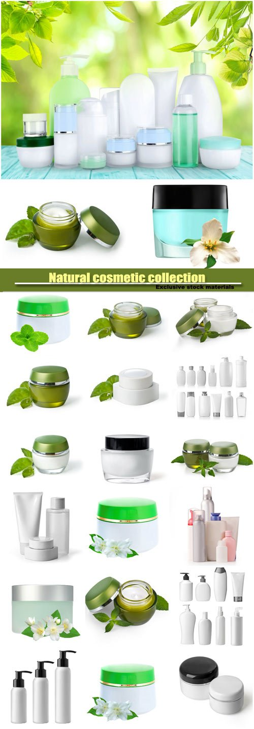 Natural cosmetic, collection of various beauty hygiene containers on white background