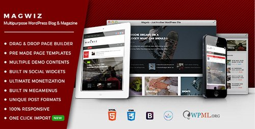 ThemeForest - MagWiz v1.0.0 - Multipurpose WordPress Magazine & Blogging theme - 19135631