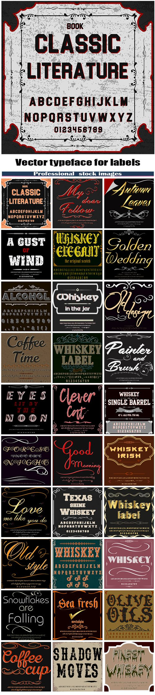 Vector typeface for labels and any type design