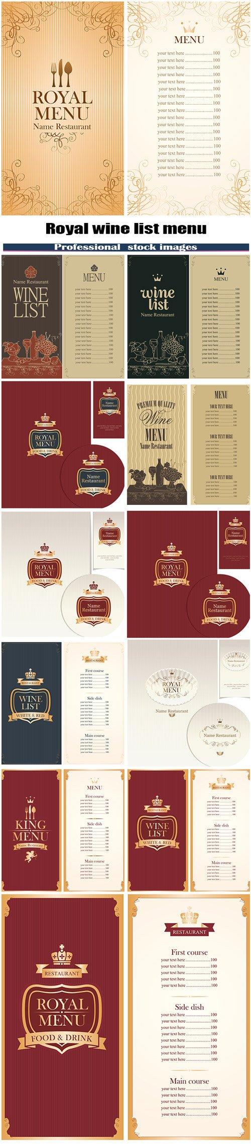 Royal wine list menu