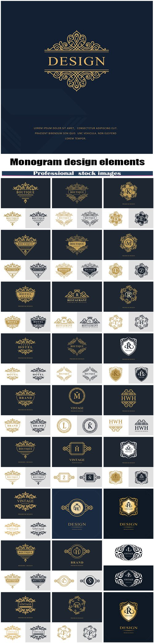 Monogram design elements set