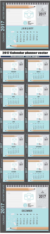 2017 Calendar planner vector design