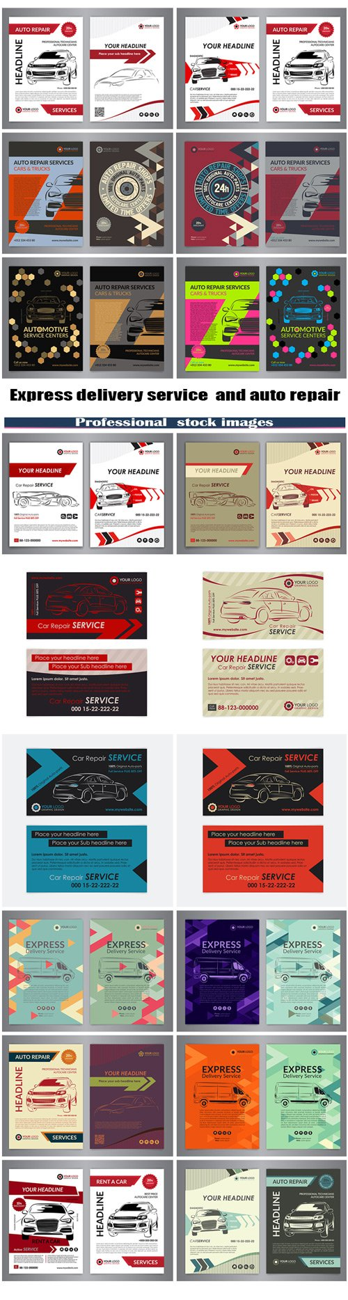 Express delivery service and auto repair business layout templates