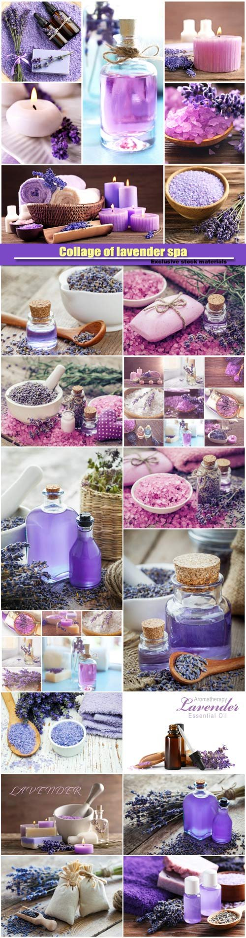 Collage of lavender spa, beauty treatment concept