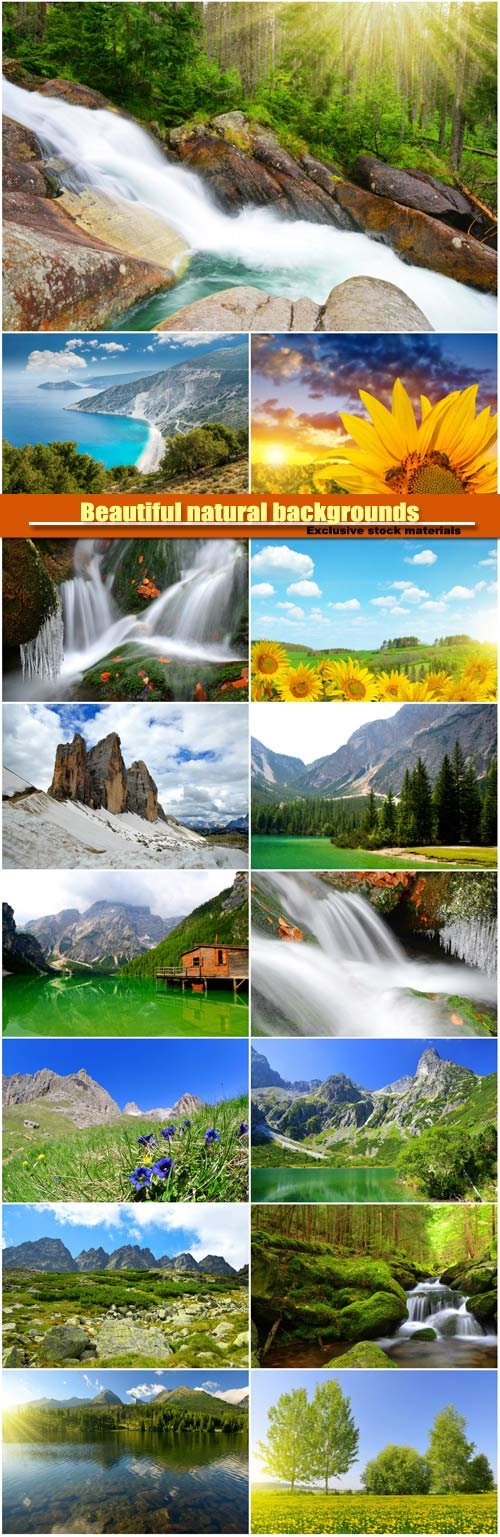 Beautiful natural backgrounds, waterfall, field with flowers, mountains and rivers