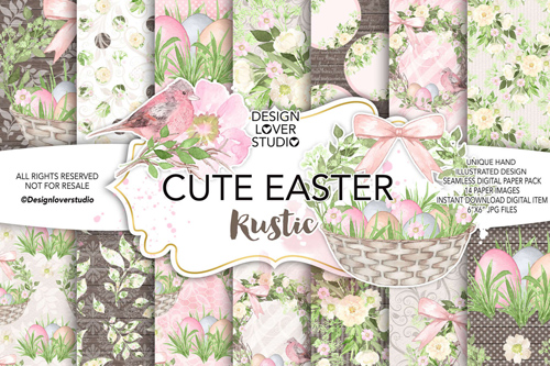 Watercolor Cute Easter Rustic DPpack