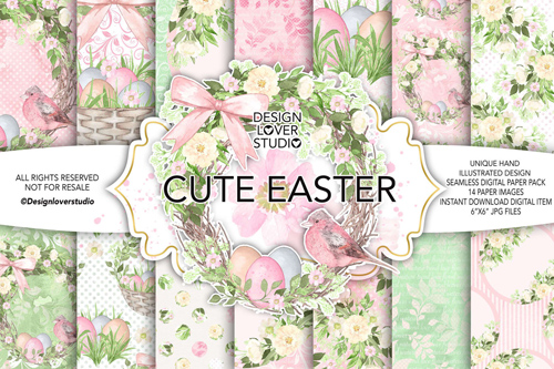 Watercolor Cute Easter Digital Paper Pack 1