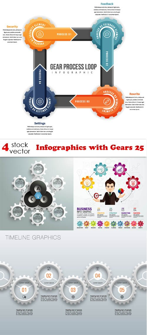 Vectors - Infographics with Gears 25