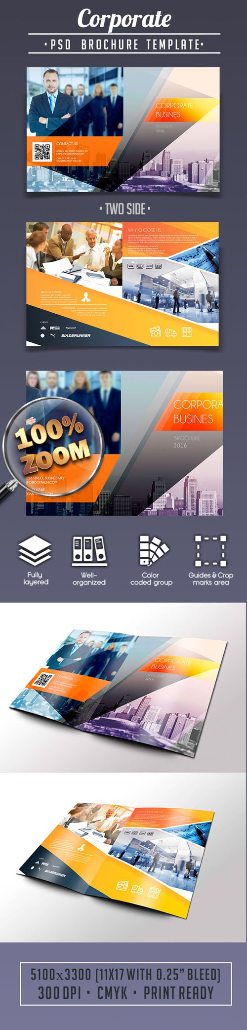 11x17 poster template photoshop - corporate business bi fold brochure psd template