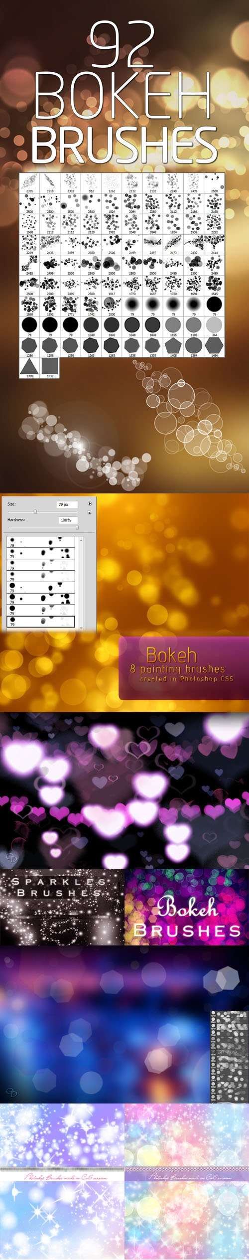 Bokeh, Sparkles and Glitters Photoshop Brushes