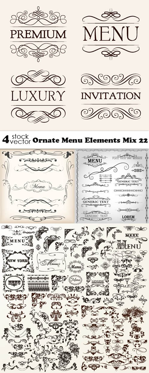 Vectors - Ornate Menu Elements Mix 22