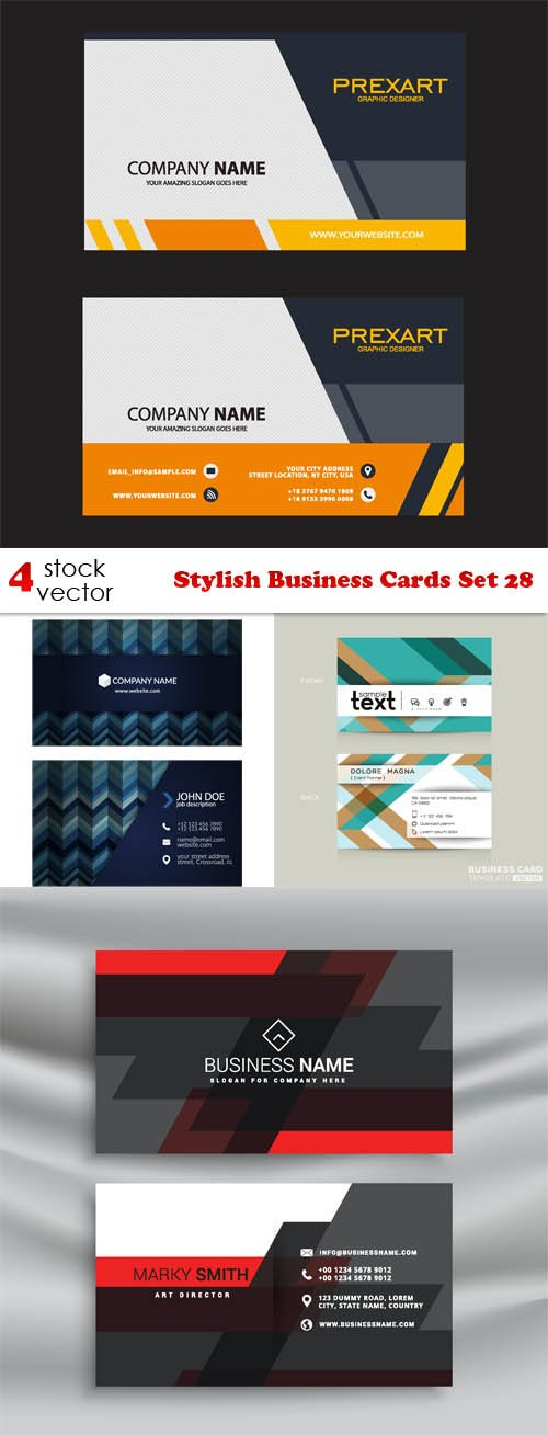 Vectors - Stylish Business Cards Set 28