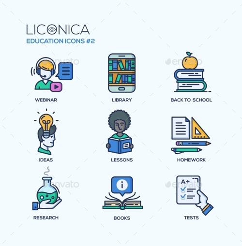 Modern School and Education Thin Line Design Icons 14715065