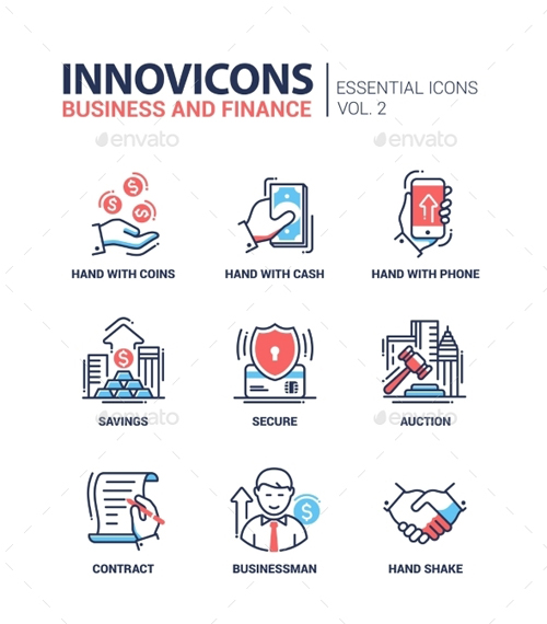 Modern Office and Business Line Flat Design Icons 14500301