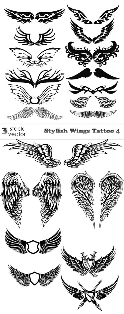 Vectors - Stylish Wings Tattoo 4