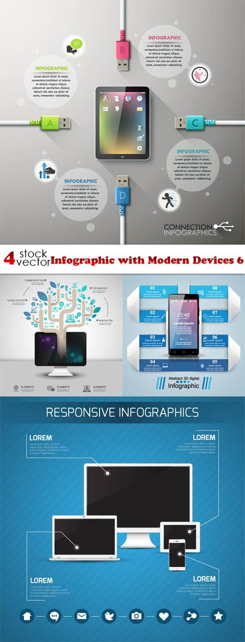 Vectors - Infographic with Modern Devices 6