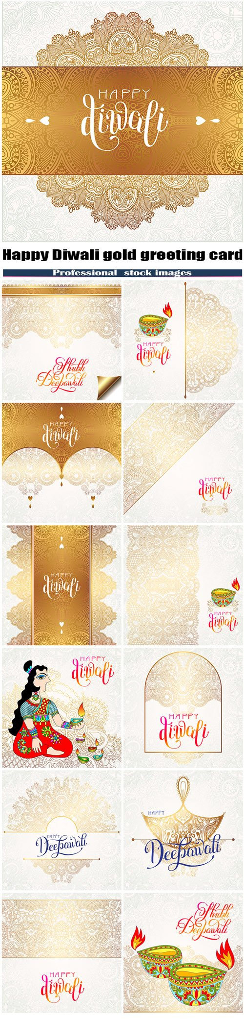 Happy Diwali gold greeting card