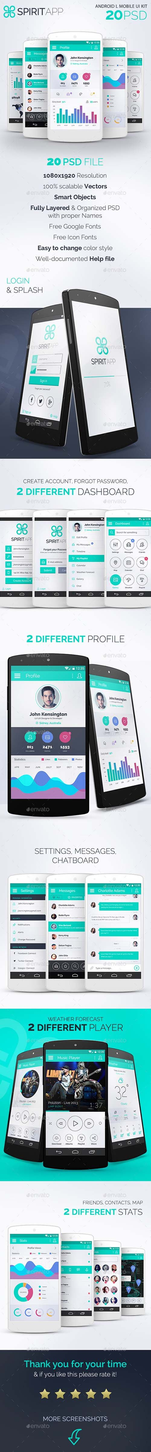 GraphicRiver - SpiritApp White - Android Mobile Design UI Kit - 12929251