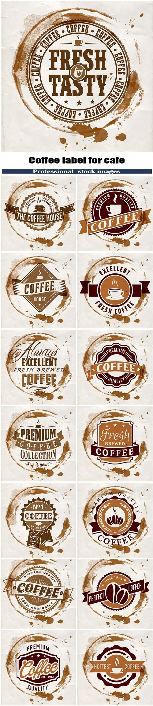 Coffee label for cafe