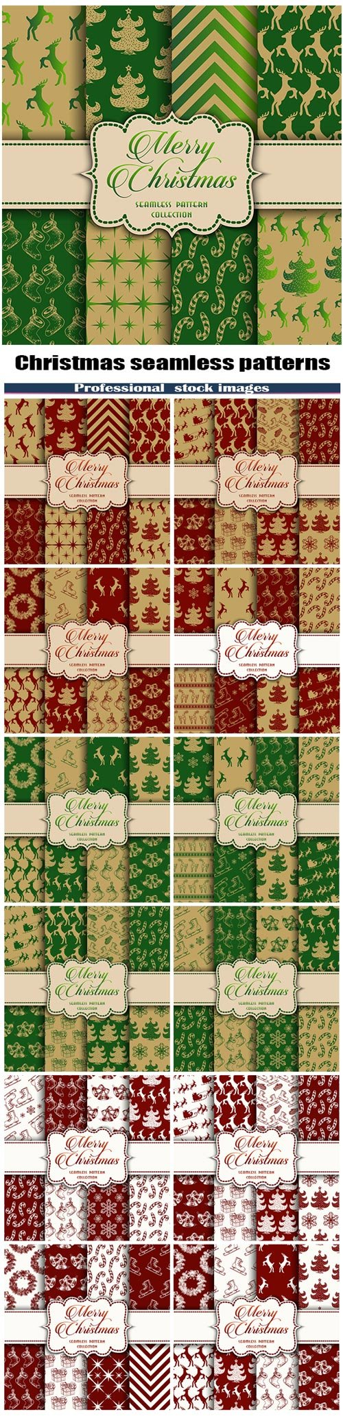 Christmas Collection of seamless patterns