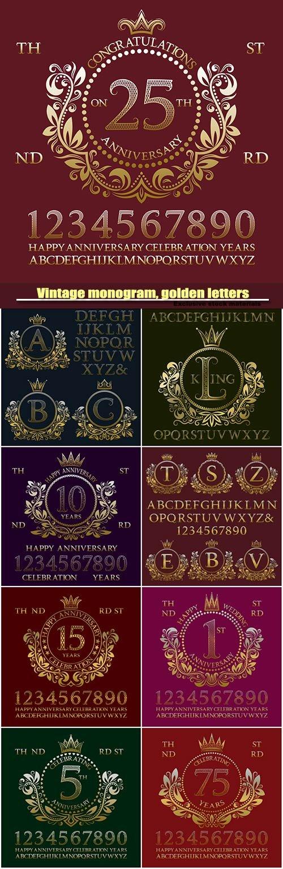 Vintage monogram kit, golden patterned letters