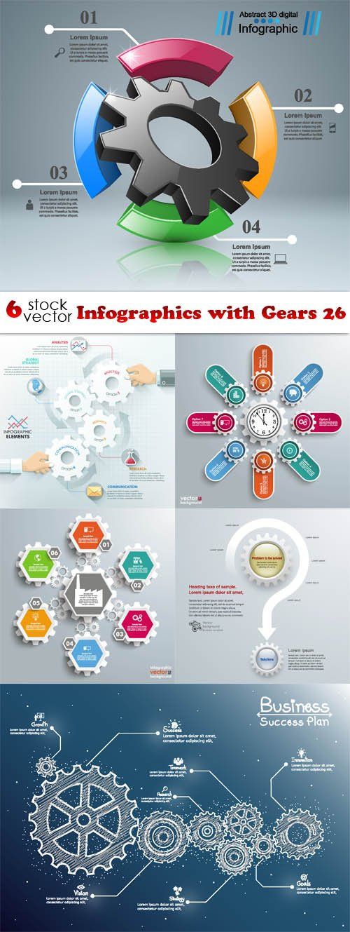 Vectors - Infographics with Gears 26