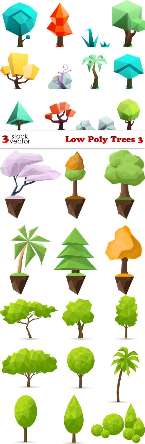 Vectors - Low Poly Trees 3