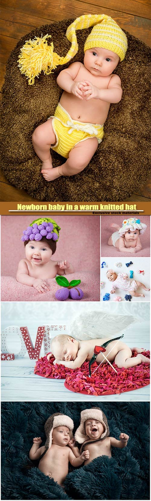 Newborn baby in a warm knitted hat, family, new life, beginning concept