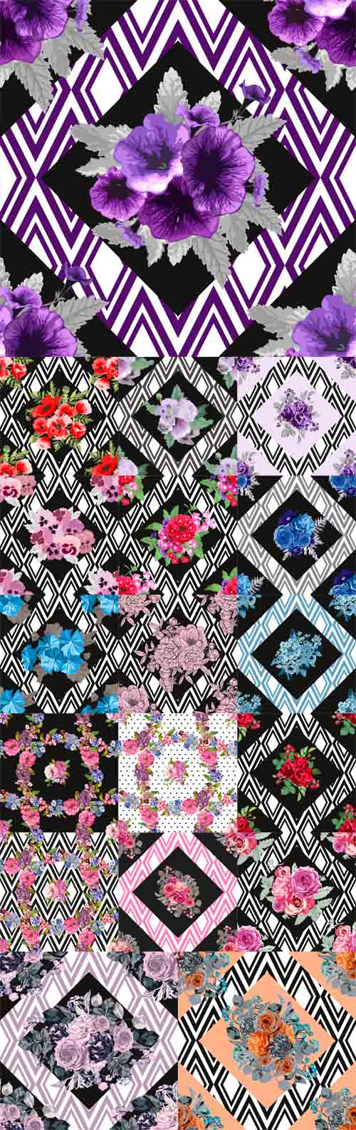 Vector Floral Seamless Patterns