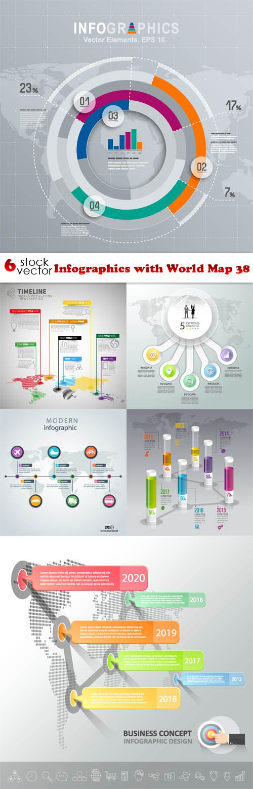 Vectors - Infographics with World Map 38