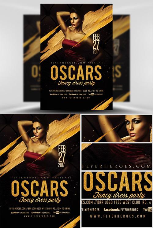 flyer template oscars fancy dress party v4
