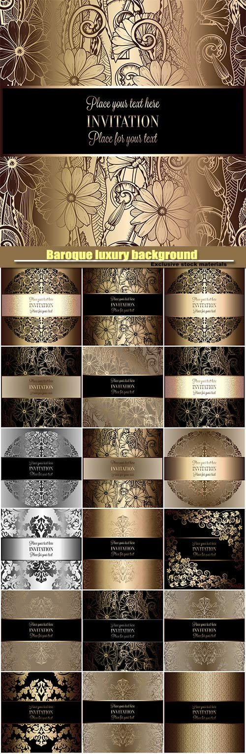 Baroque luxury background, black and gold vintage vector frame