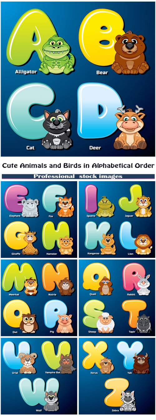 Cute animals and birds in alphabetical order