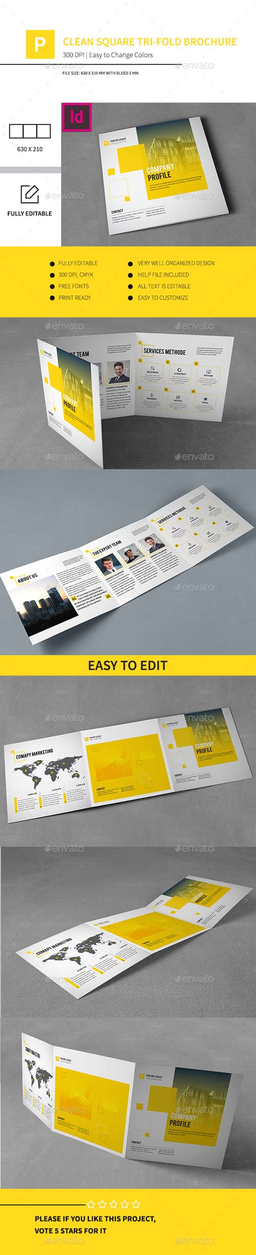 Clean Square Tri-fold Brochure 13482396