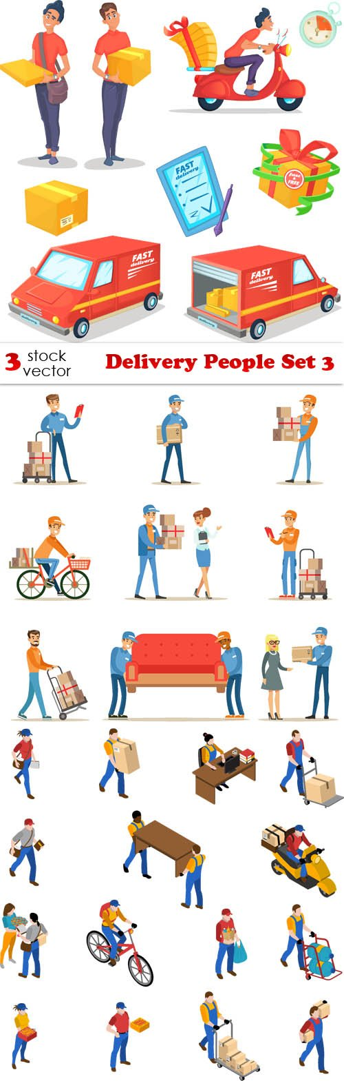 Vectors - Delivery People Set 3
