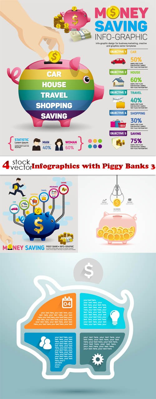 Vectors - Infographics with Piggy Banks 3