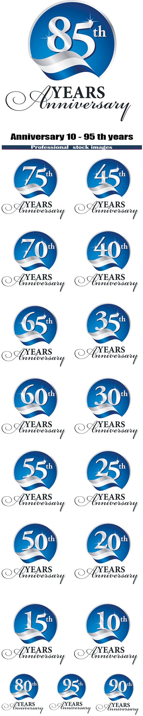 Anniversary 10 - 95 th years celebrating logo