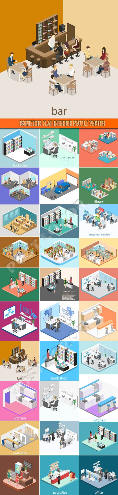 Isometric flat interior people vector