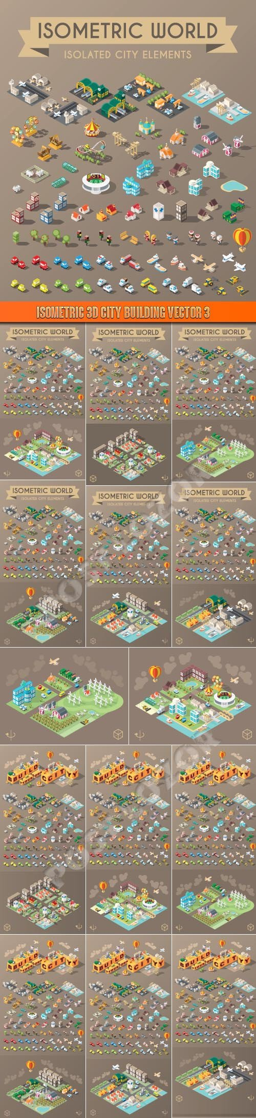 Isometric 3D city building vector 3