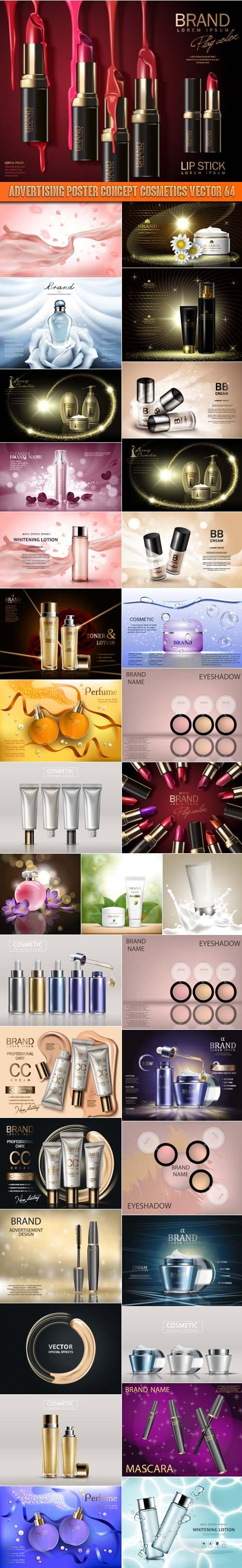 Advertising Poster Concept Cosmetics vector 64