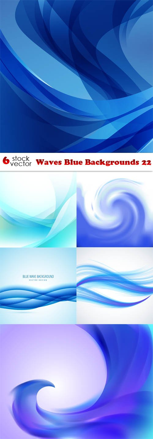 Vectors - Waves Blue Backgrounds 22