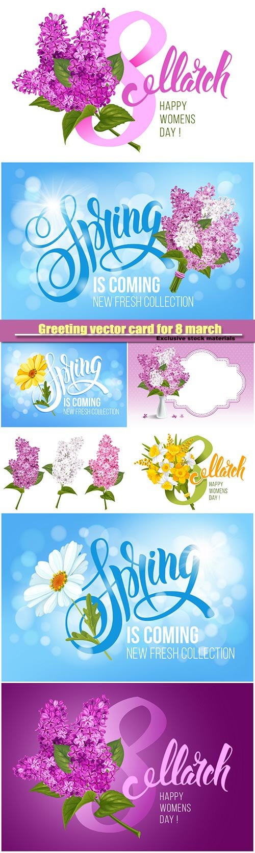 Greeting vector card for 8 march, womens day