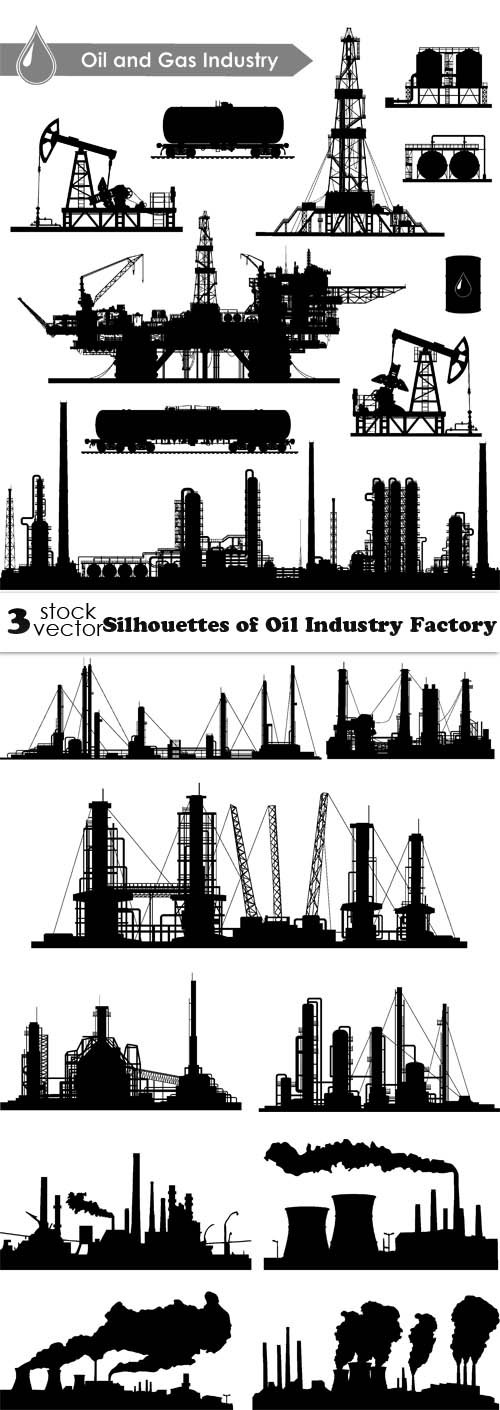 Vectors - Silhouettes of Oil Industry Factory