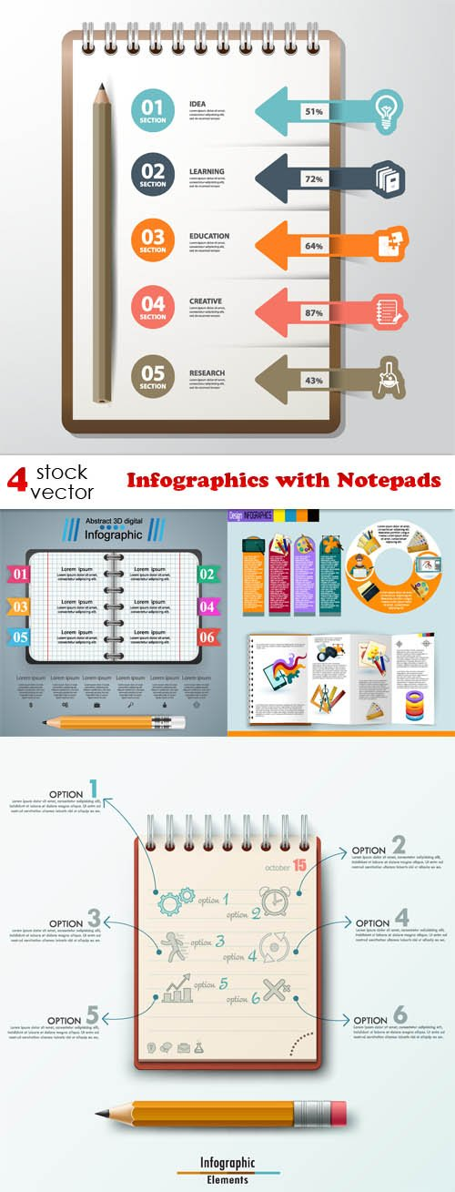 Vectors - Infographics with Notepads
