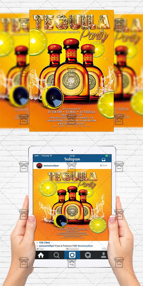 Flyer Template+Instagram Size Flyer - Tequila Party