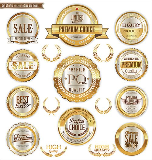 Golden badges and labels