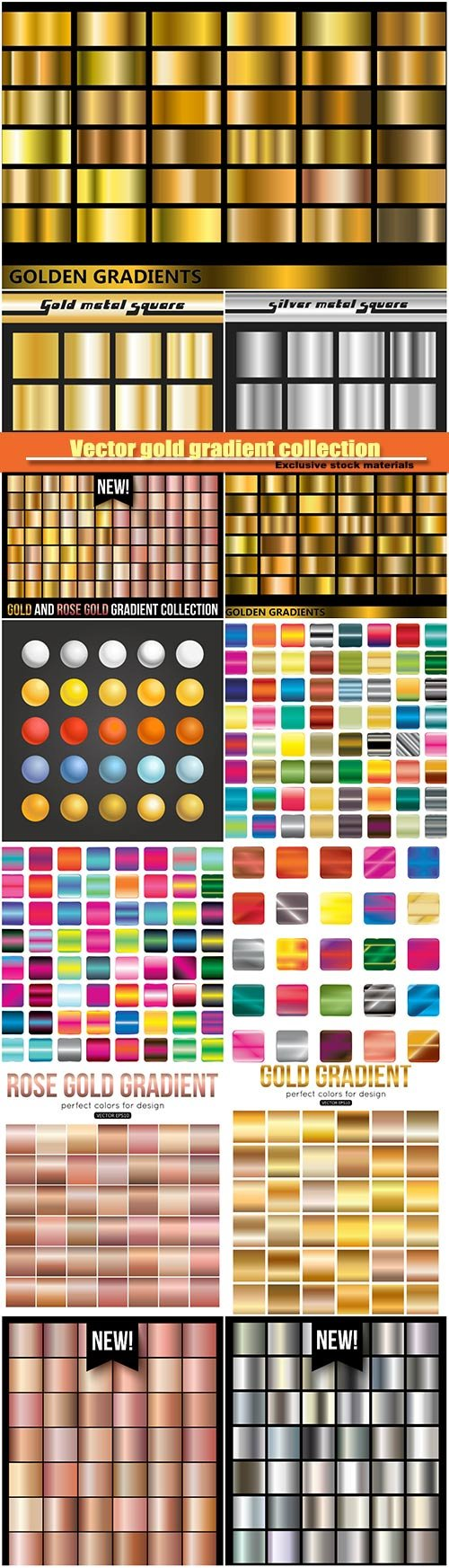 Vector gold gradient collection