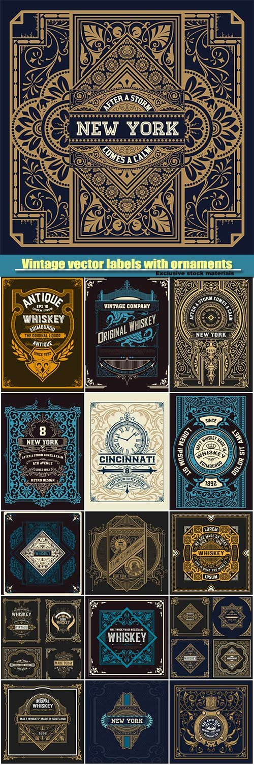 Vintage vector labels with ornaments and patterns